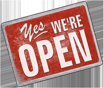 Yes_Were_Open_Schild